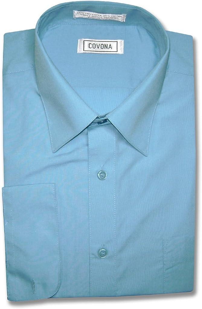 Men's Solid Peacock Blue Color Dress Shirt w/Convertible Cuffs