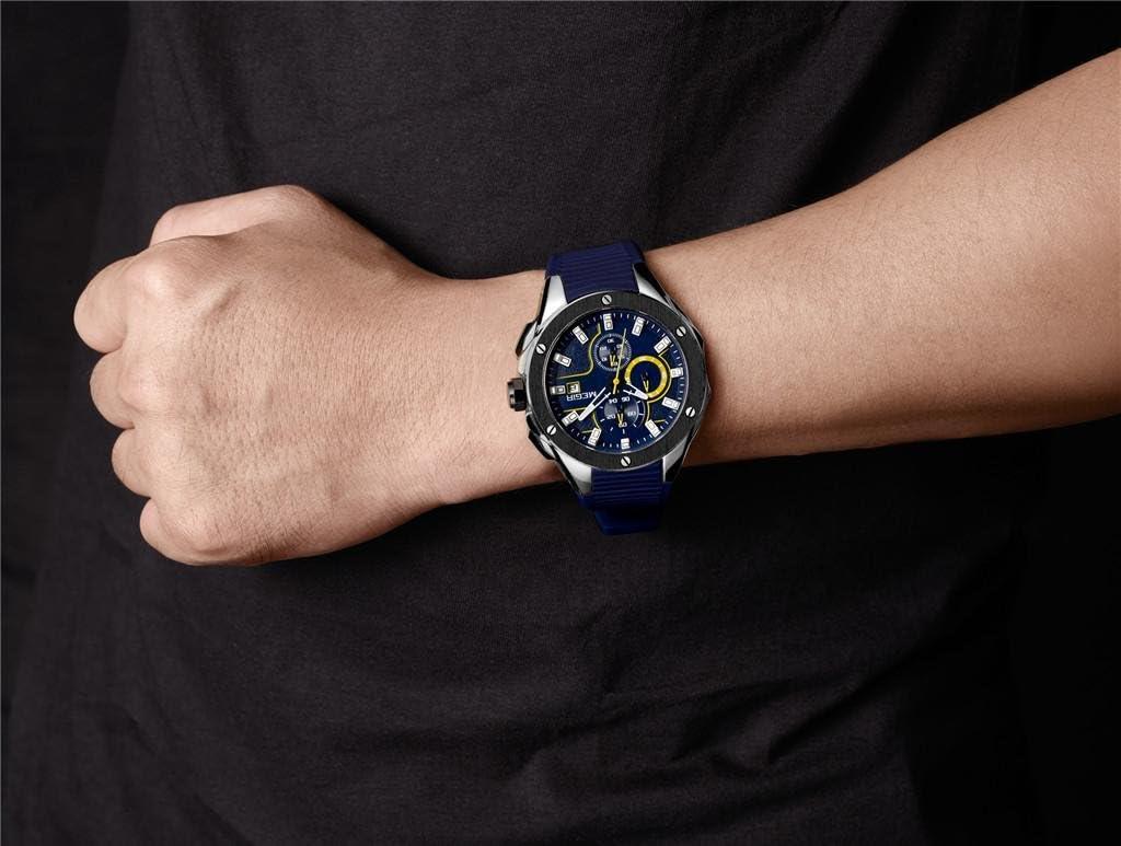 LLW Orologi sportivi da uomo in gel di silice cinturino in lega quadrante cronografo multifunzione orologio al quarzo, Gray Blue
