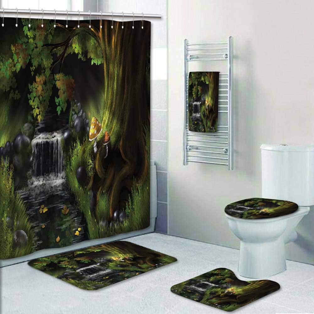 Philip-home 5 Piece Banded Shower Curtain Set a Stream in The Woods Under a Tree Pattern Printing Suit