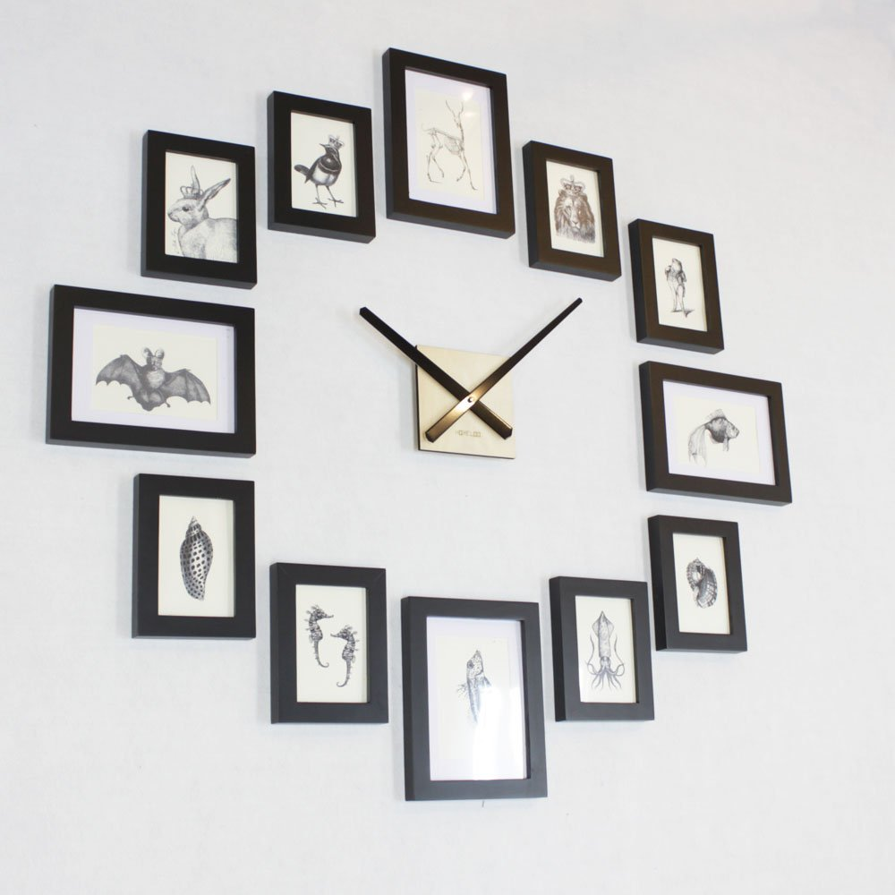 Amazon homeloo modern 12 wood wooden photo picture frame diy amazon homeloo modern 12 wood wooden photo picture frame diy wall clock black home kitchen amipublicfo Gallery
