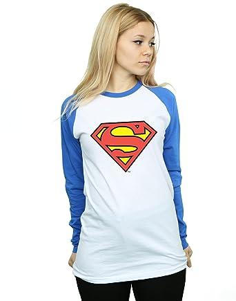 d50b3b4e859 DC Comics Women s Superman Logo Long Sleeved Baseball Shirt at Amazon  Women s Clothing store