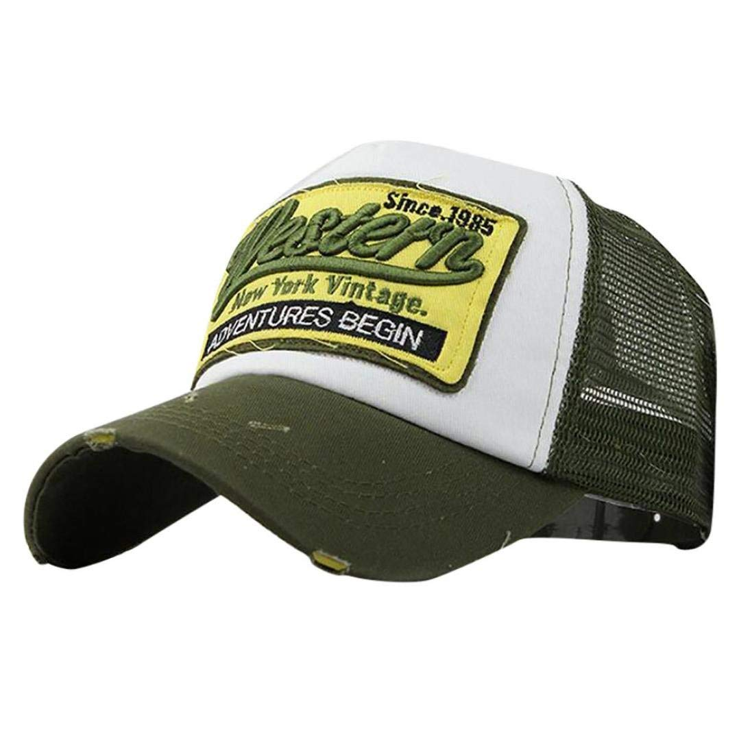 Vintage Men Women Adjustable Letters Sewing Summer Breathable Mesh Hip Hop Hiking Outdoor Flat Cowboy Hat Yevison Premium Quality Embroidered Peaked Baseball Cap