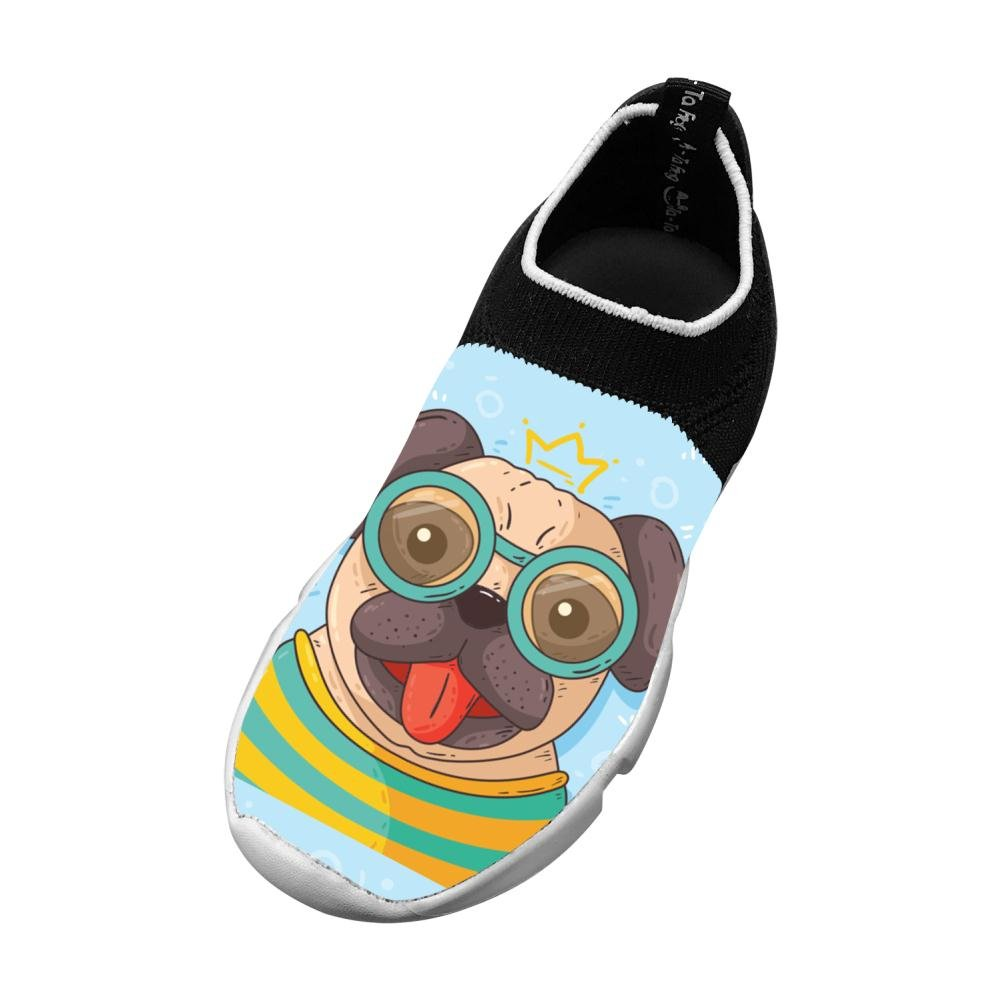 Hand Drawn Pug With Glasses Flyknit Shoes Light Sports Fashion Running Shoes For Kids