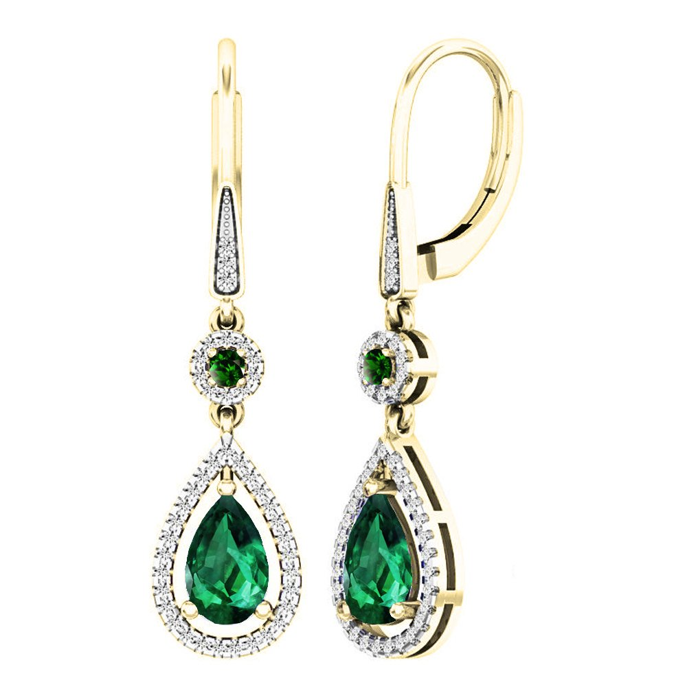 Dazzlingrock Collection 14K 8X5 MM Each Lab Created Round & Pear Emerald & Round Diamond Dangling Earrings, Yellow Gold