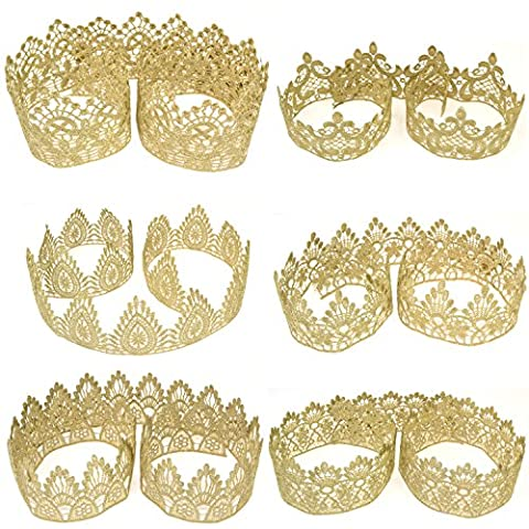 Star Quality Golden Crown Lace for Baby and Adult DIY Craft Crown | Craft Lace for Princess, Prince and Doll's Crown (1 Yard, Flower Dynasty Crown - Princess Crown Water