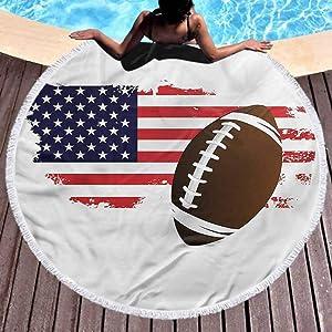 "prunushome Beach Towel Sports Circular Blanket Ultra Soft Pattern of USA Flag Football with Tassel,High Color fastness (Diameter 59"")"