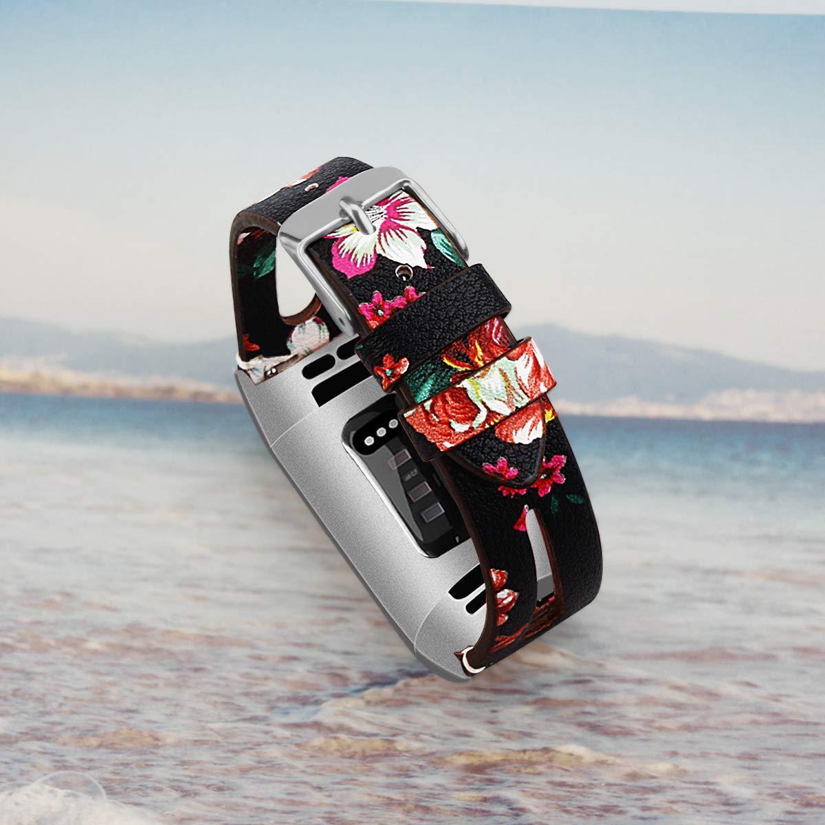 Feskio Bracelet de Rechange en Cuir v/éritable pour Montre connect/ée Fitbit Charge 3