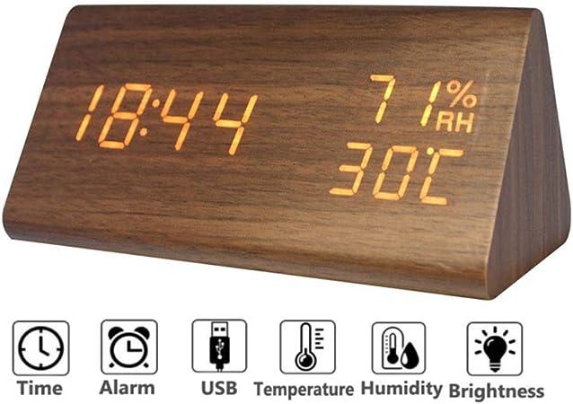 Homieco Numérique Réveil Bois Réglable Luminosité Contrôle Vocal LED Horloges Triangle Affichage Temps Température Décor À La Maison