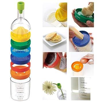 Amazing 8 en 1 Exprimidor de Botellas de plástico con Forma de Jengibre, rallador de