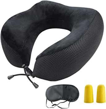 Bloodyrippa Ergonomic Travel Neck Pillow, Memory Foam Neck Support, Adjustable Tightness, Ideal for Flights, Driving, Also Come with Sleep Mask and Earplugs