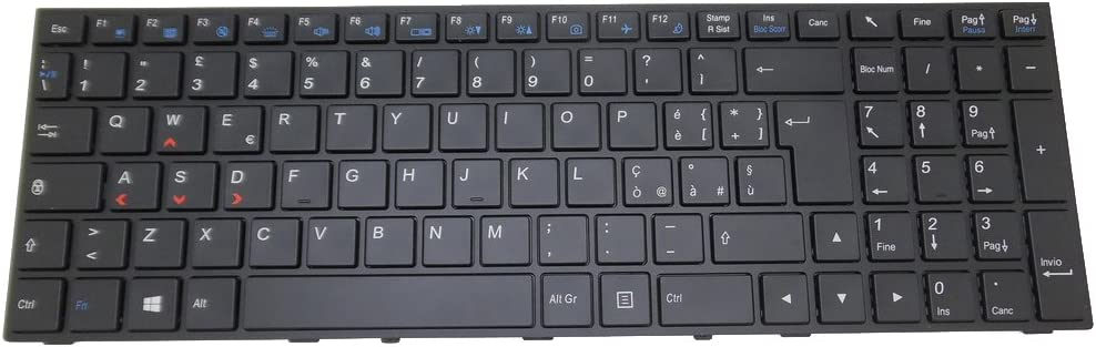 Laptop Keyboard for CLEVO P650 MP-13H86I0J430B 6-80-P6500-101-1 Italy IT Black with Frame and Backlit