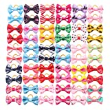 YAKA 60PCS (30 Paris) Cute Puppy Dog Small Bowknot Hair Bows Rubber Bands Handmade Hair Accessories Bow Pet Grooming Products (60 Pcs,Cute Patterns) (Rubber Bands Style3)