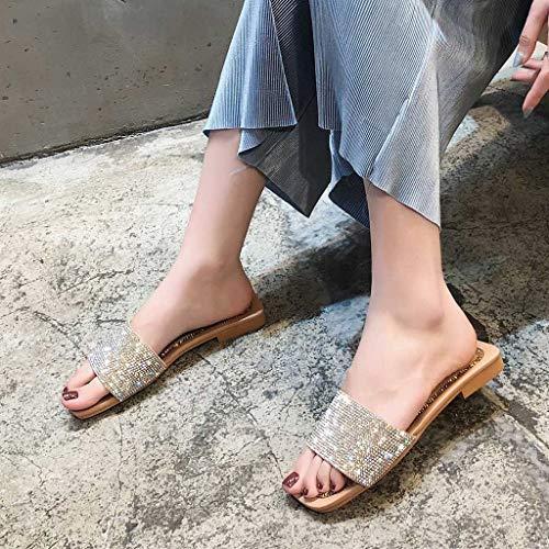 Cristal Para De Exterior Cuadrada Punta Zapatillas Longra Zapatos Plata Mujer qYxX1