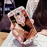 for Samsung Galaxy S8 Case Silicone Mirror,Areall [Ring Stand Holder] Glitter Luxury Crystal Rhinestone Soft Slim Flexible Rubber Shockproof Makeup Back Cover Bumper for Samsung Galaxy S8-Rose Gold