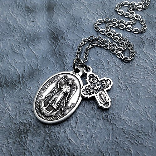 Saint Raphael Necklace. Patron Saint of the blind, bodily ills, nurses, physicians and medical workers