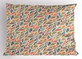 Ambesonne Boho Pillow Sham, Abstract Feather Wave Pattern with Retro Look and Artistic Colorful Short Lines Curves, Decorative Standard Size Printed Pillowcase, 26 X 20 Inches, Multicolor