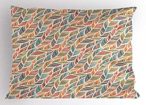 - Ambesonne Boho Pillow Sham, Abstract Feather Wave Pattern with Retro Look and Artistic Colorful Short Lines Curves, Decorative Standard Queen Size Printed Pillowcase, 30 X 20 Inches, Multicolor
