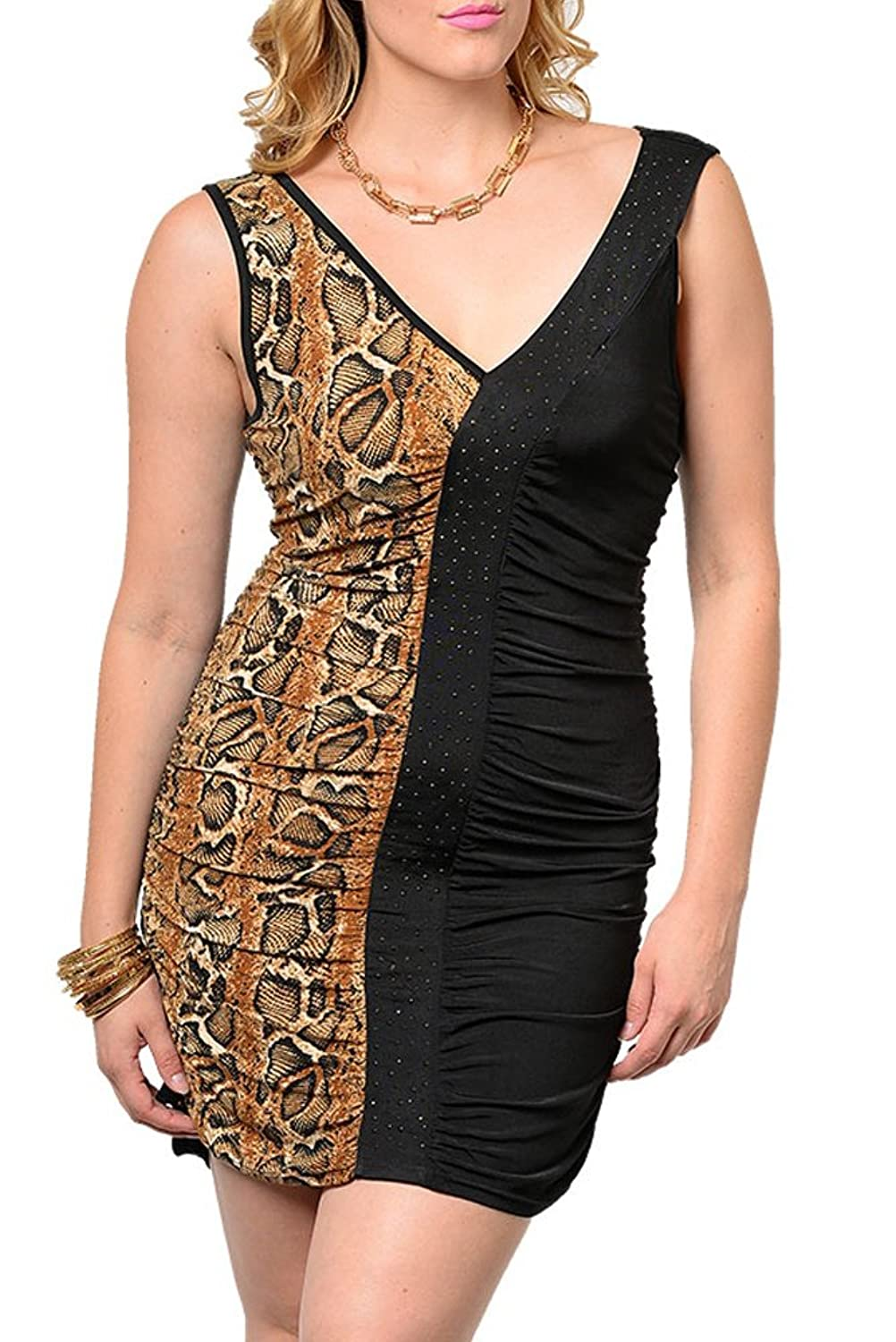 DHStyles Women's Plus Size Sexy Cinched Animal Print Jeweled Dress