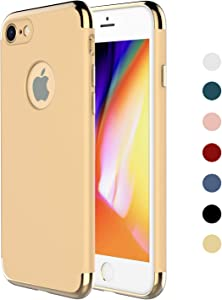 iPhone 7 Case,iPhone 8 Case,RORSOU 3 in 1 Ultra Thin and Slim Hard Case Coated Non Slip Matte Surface with Electroplate Frame for Apple iPhone 7 (4.7