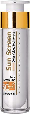 FrezyDerm Sun Screen Velvet Crema Orotectora Solar Facial SPF 50+ con color Textura Aterciopelada, Nude