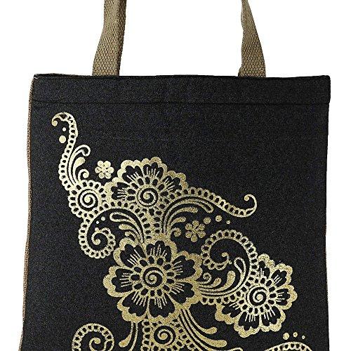 Shimmer fibra naturale iuta Tote Bag con oro Florals grafica con trapuntato imbottito Fodera