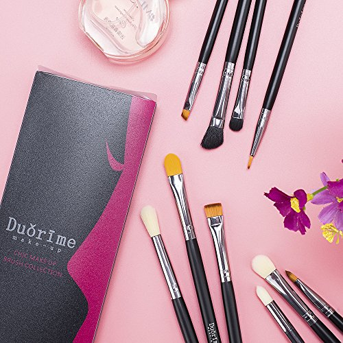 Duorime Silky 10Pcs Eyeshadow Makeup Brush Set Essential Eye Makeup Brushes Kit