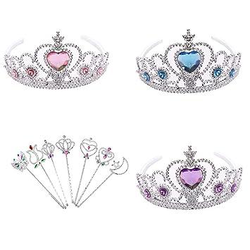 Girl/'s Princess Fancy Dress Tiara /& Heart Wand Kids Birthday Party Fun Book Day