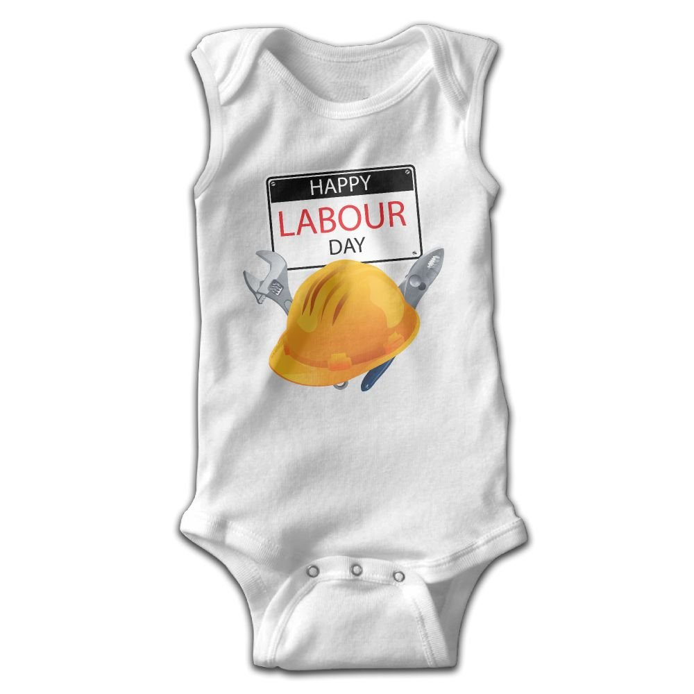 Efbj Newborn Baby Boys Rompers Sleeveless Cotton Onesie Labor Day Print Jumpsuit Spring Pajamas Bodysuit