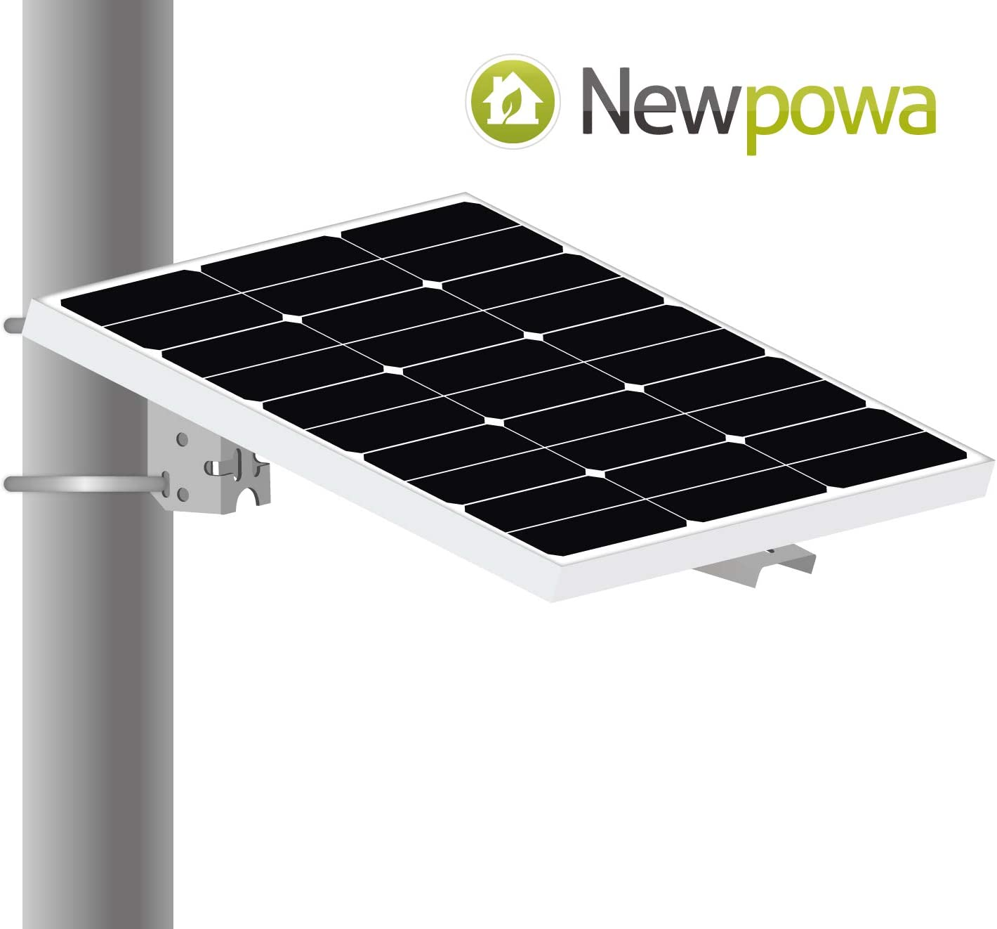 Newpowa Universal Solar Panel Mounting Bracket Single Arm Pole, Wall and Ground Mounts Up to 60W