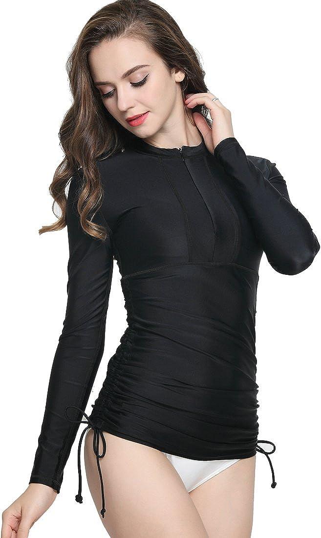ilishop Womens UV Sun Protection Long Sleeve Rash Guard Wetsuit Swimsuit Top