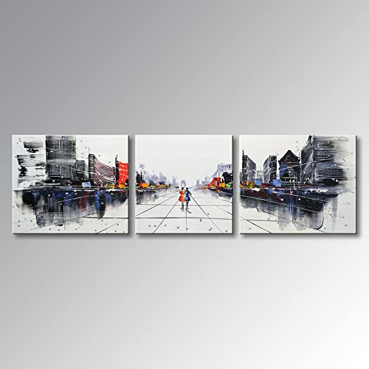 Everfun Art Hand Painted Palette Knife Oil Paintings Modern Picture Canvas Wall Art Abstract Cityscape Building Artwork Framed Ready to Hang 68 W x 20 H