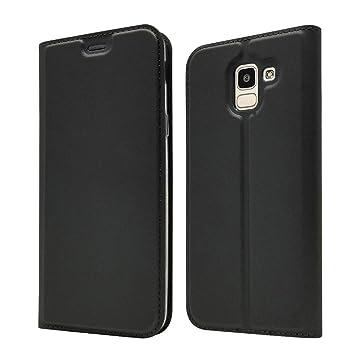 LAGUI Funda Adecuado para Samsung Galaxy J6, Ultrafina Carcasa Minimalista Tipo Libro con tapa Imantada y Ranura para Tarjeta y Soporte Horizontal, ...