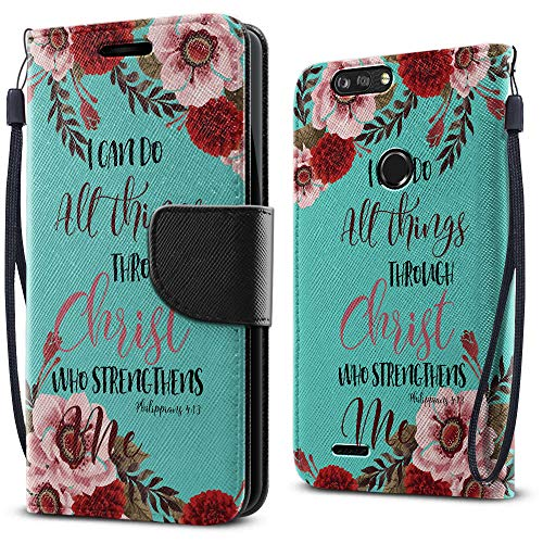 FINCIBO Case Compatible with ZTE Blade Z Max Z982/ Sequoia, Fashionable Flap Wallet Pouch Cover Case + Card Holder Kickstand for Blade Z Max Z982 - Christian Bible Verses Philippians 4:13