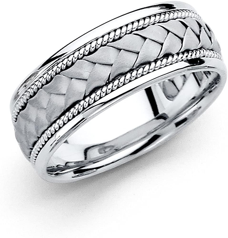 The Bling Factory Wide Polished Rhodium Plated Milgrain Edges Wedding Band Ring Size 5