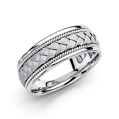 14k White Gold Mens 8mm Braided Rope Handbraided COMFORT FIT Wedding Band