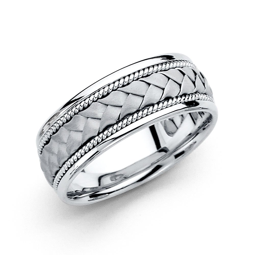 14K Solid White Gold 8MM Braided Rope Comfort Fit Wedding Band, Size 9
