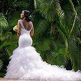 XIA Womens V-Neck Shiny Beaded Body Wedding Dress For Bride Ball Gown Mermaid Dress With Train Plus Size
