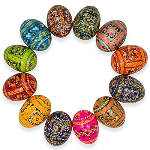 Set of 12 Ukrainian Hand Painted Pysanky Wooden Easter Eggs 2.5 Inches