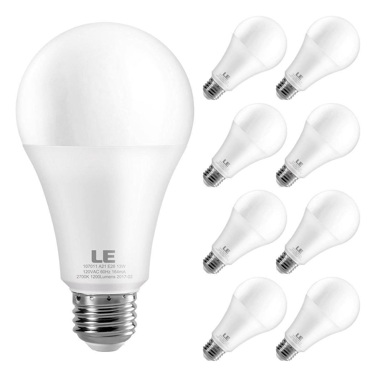 LE 100 Watt Equivalent A21 LED Light Bulbs, 13W LED Bulbs, Super Bright 1200 Lumens 2700K Warm White, 200° Beam Angle, Non- Dimmable E26 Medium Base Bulbs, Pack of 8