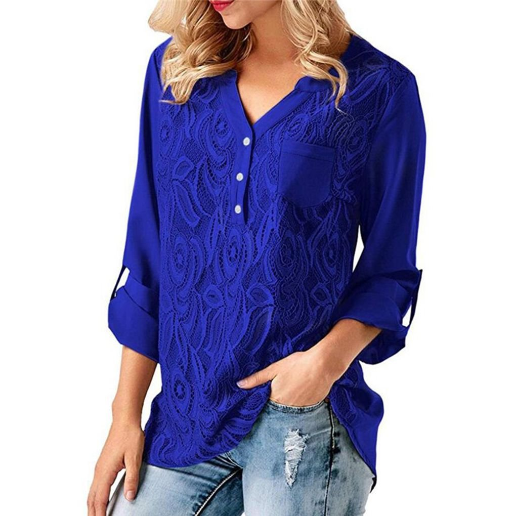 Minzhi Women Pure Color Loose Cuffed Sleeve Flower V-Neck Lace Chiffon Panel Casual Soft Blouses Top