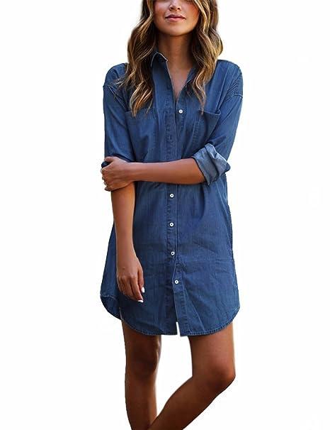 brand new d8d7b 9d00d Qijitech Longest Elegante Camicia Lunga Moda Deep Bluse Jeans Abito Donna  da A possibilità Casual