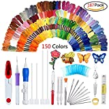 Magic Embroidery Pen Punch Needle,Embroidery Patterns Punch Needle Kit Craft Tool,Embroidery Pen Set,Including 150 Color Threads for Sewing Knitting DIY Threaders