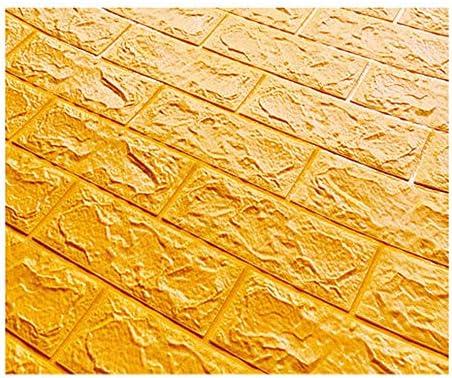 10パック3D壁パネルフェイクストーンブリック装飾的なPE発泡自己接着壁紙防水ウォールデコレーション (Color : Bright yellow)