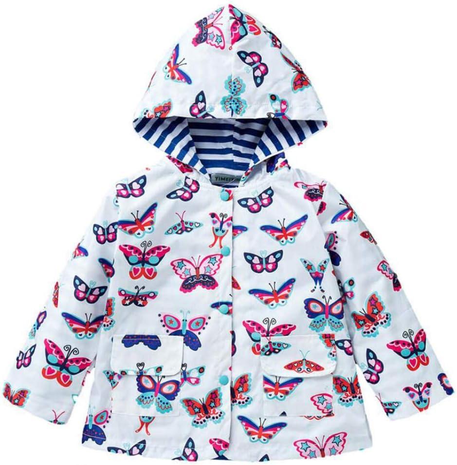 Giacche Bambina Bambino Butterfly Print Girl Giacca Impermeabile Antivento Per Capispalla 2-6 Anni
