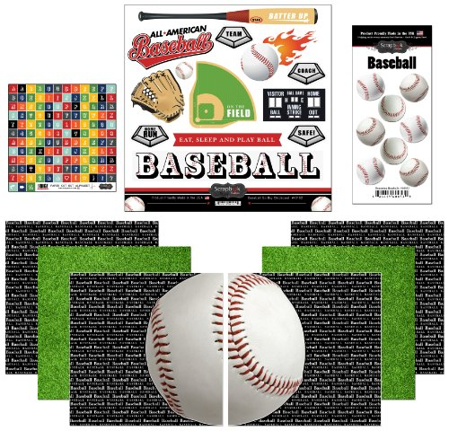 12 Scrapbooking Stickers - Scrapbook Customs Themed Paper and Stickers Scrapbook Kit, Go Big Baseball