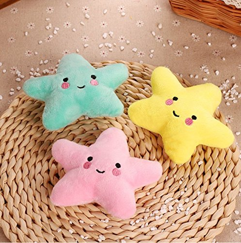 Stock Star - Stock Show 3Pcs Pet Dog Squeak Toys Plush Small Star Shape Teeth Cleaning Massager Playtoys for Small Dogs Cats, Yellow + Green + Pink