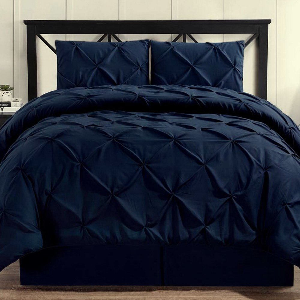 Hotel Style Comforter Set Brushed Microfiber 4 Piece Pinch Pleat Pintuck Luxury Modern Hypoallergenic All Season Soft Bedding - with Pillow Shams and Bed Skirt - Solid Navy Blue Oversized King Size
