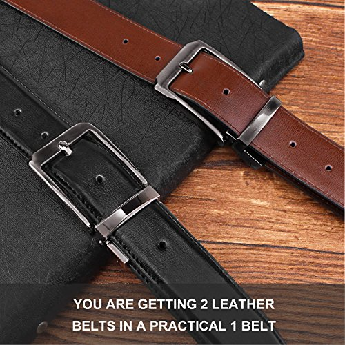 Men's Genuine Leather Dress Belt Reversible with Single Prong Rotated Buckle Gift Box by HIPPIH (Image #1)