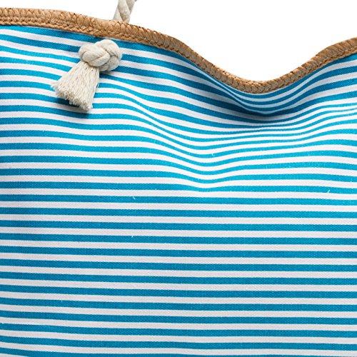 Grande Hombro bolso Mano A Ts1024 Caspar Playa Turquesa Para Mujer Xl Rayas Bolso De qHWpxw