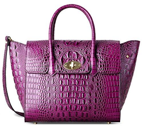 PIFUREN Fashion Women Handbags Leather Crocodile Purse Top Handle Satchel Bags C68732L( Purple)